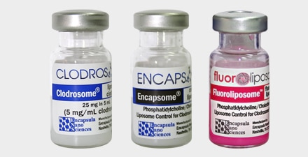 The kit contains one vial of Clodrosome, one vial of Encapsome, and one vial of Fluoroliposome-DiI