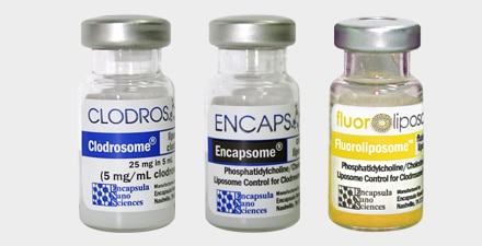 The kit contains one vial of Clodrosome, one vial of Encapsome, and one vial of Fluoroliposome®-DiO